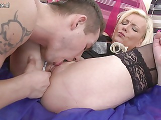 filthy blond milf sucks and bonks her toyboy