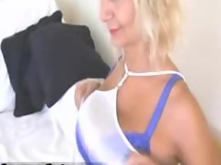 hot blond milf with big tits stripping