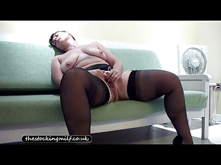 british stocking milf teases her pussy