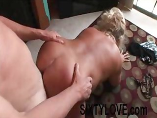 obese golden-haired older is getting drilled from