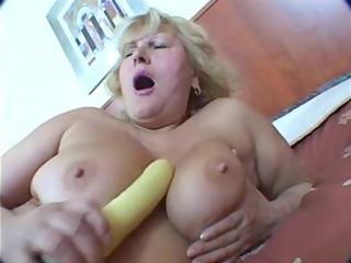 overweight blond older masturbation on daybed