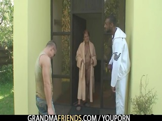 interracial threesome fuckfest with granny
