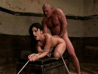 mature chap ties sexy brunette hair and dominates