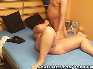 obese dilettante wife sucks and fucks with cum in