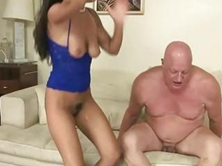 naughty brunette fucking bulky old man