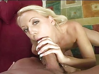 sexy blonde milf in white underwear gives blow