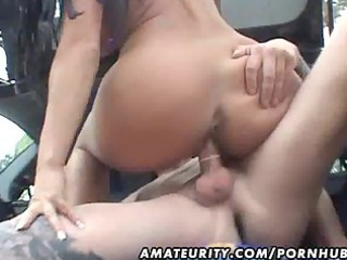 busty dilettante wife screwed in a car with spunk
