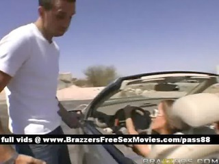 lovely blond floozy drives her car then goes home