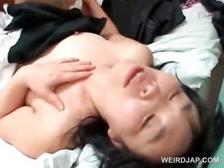 oriental older maiden receives drilled hard in
