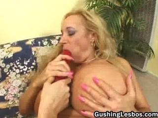 older lesbian slut receives drilled with fake
