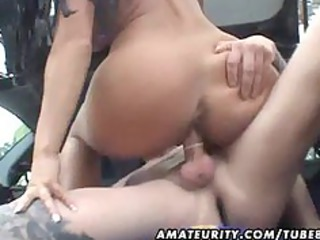 breasty amateur wife screwed in a car with spunk