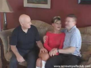 husband watches as his juvenile wife sucks and
