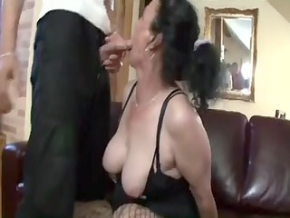 busty dark brown granny receives nasty wet crack