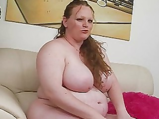 pale huge redhead momma uses her fresh sex toy on
