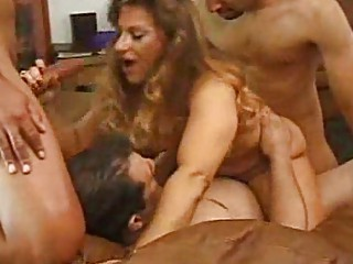 blonde d like to fuck acquires four cocks at one