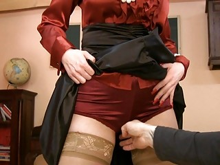 milf in glasses and satin stockings receives