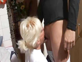 mature german broad team-fucked in the kitchen