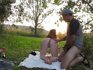 breasty redhead sucks and fucks outside and does