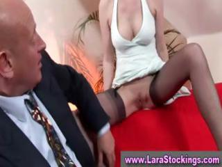 older in stockings given oral sex