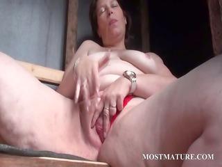 outdoor vagina masturbation with aged