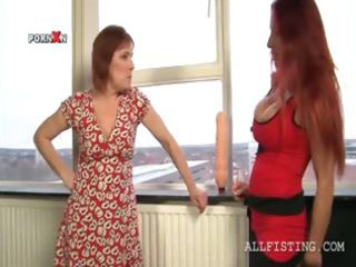 breasty lesbo matures oiling tits and giving a