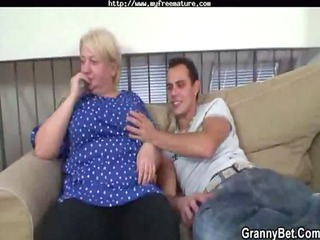 lewd juvenile chap bangs old blonde woman mature