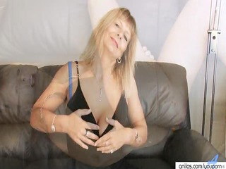 breasty aged fingering her hairy cunt