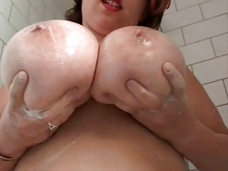 fat breasty hairy wife in the shower