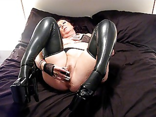latex nylons and 7 inch heels