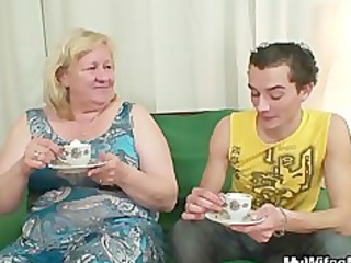 massive granny is banged by her son on law