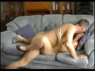 spouse and wife have a quick fuck on the sofa !