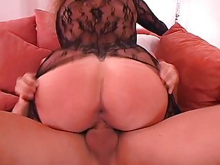 german wife large milk sacks in sexy catsuit laid