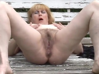 chunky older with unshaved cookie outdoors by troc