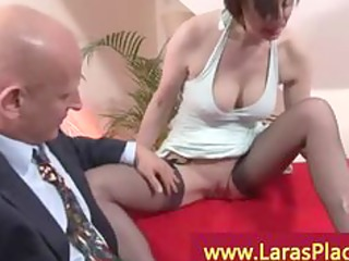 older pair in a foreplay