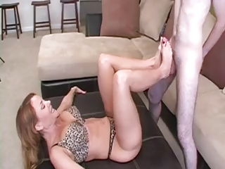 mature footjob for young chap