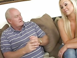 sweet busty golden-haired wife engulfing jock for