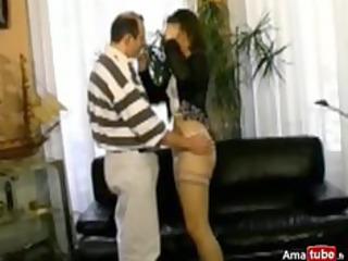 bushy brunette hair analfucked in stockings