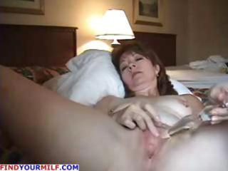 aged non-professional wife uses her glass sex