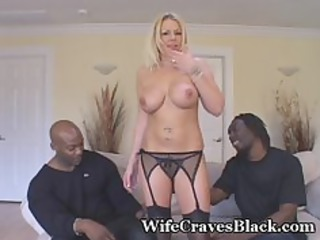 blonde wife engulfs two darksome dudes