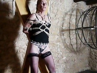 hogtied bondage caning for french older slave