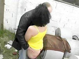 aged lady gang-banged outside